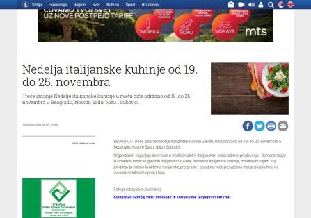 1411 - tanjug.rs - Nedelja italijanske kuhinje od 19. do 25. novembra