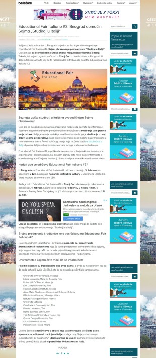 1601 - beleske.com - Educational Fair Italiano 2- Beograd domacin Sajma Studiraj u Italiji