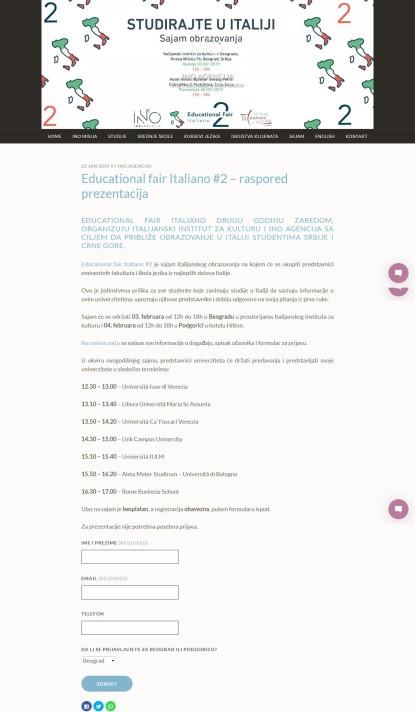 2201 - inoagencija.com - Educational fair Italiano #2 GÇô raspored prezentacija - Ino agencija