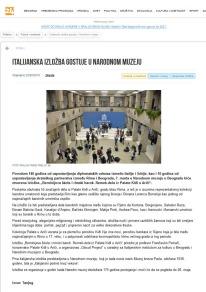 2202 - 24online.info - 24 sata Online izdanje besplatnih novina Italijanska izlozba gostuje u Narodnom muzeju