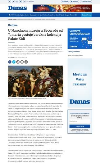 2202 - danas.rs - U Narodnom muzeju u Beogradu od 7. marta gostuje barokna kolekcija Palate Kidji