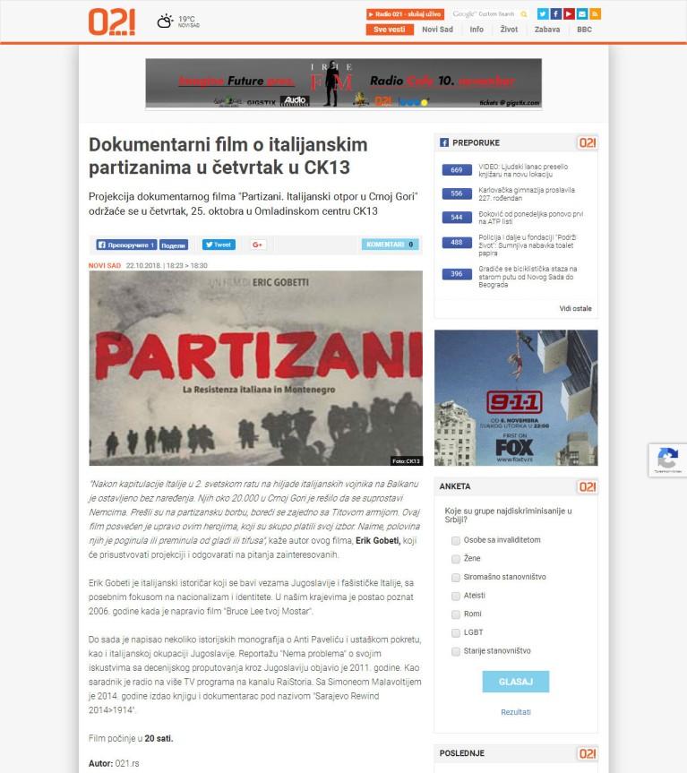 2210 - 021.rs - Dokumentarni film o italijanskim partizanima u cetvrtak u CK13