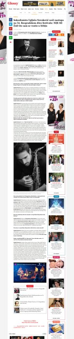 2210 - glossy.espreso.rs - Saksofonista Ugljesa Novakovic uoci nastupa na 34. Beogradskom dzez festivalu- NIJE MI ZAO sto sam se vratio u Srbiju