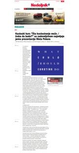 2210 - nedeljnik.rs - Kustoski kurs Sta kustosiranje moze - treba da bude sa zadovoljstvom najavljuje javnu prezentaciju Meta Pekera