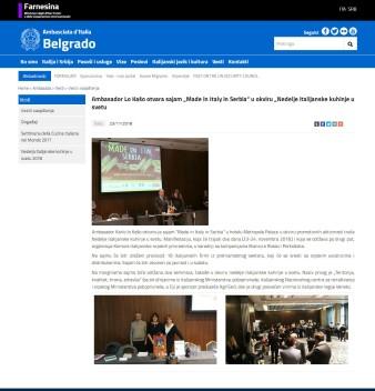 2311 - ambbelgrado.esteri.it - Ambasador Lo Kaso otvara sajam GÇPMade in Italy in SerbiaGÇ£ u okviru Nedelje italijanske kuhinje u svetu