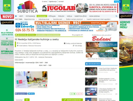 2311 - subotica.com - III Nedelja italijanske kuhinje u svetu - Hotel Galleria - Restoran Panorama