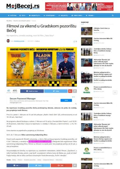 2901 - mojbecej.rs - Filmovi za vikend u Gradskom pozoristu Becej