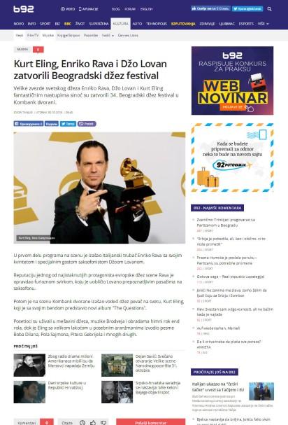 3010 - b92.net - Kurt Eling, Enriko Rava i Dzo Lovan zatvorili Beogradski dzez festival