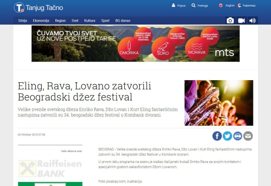 3010 - tanjug.rs - Eling, Rava, Lovano zatvorili Beogradski dzez festival