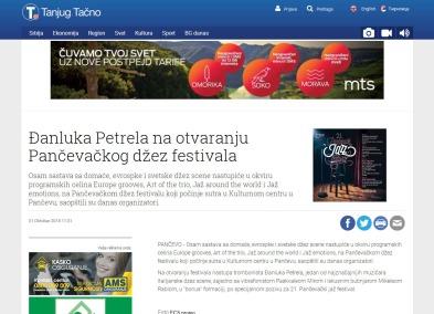 3110 - tanjug.rs - Djanluka Petrela na otvaranju Pancevackog dzez festivala