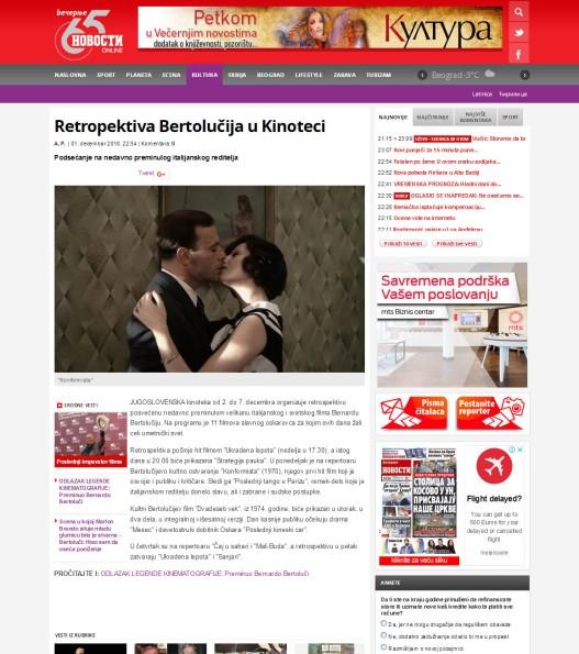 0112 - novosti.rs - Retropektiva Bertolucija u Kinoteci