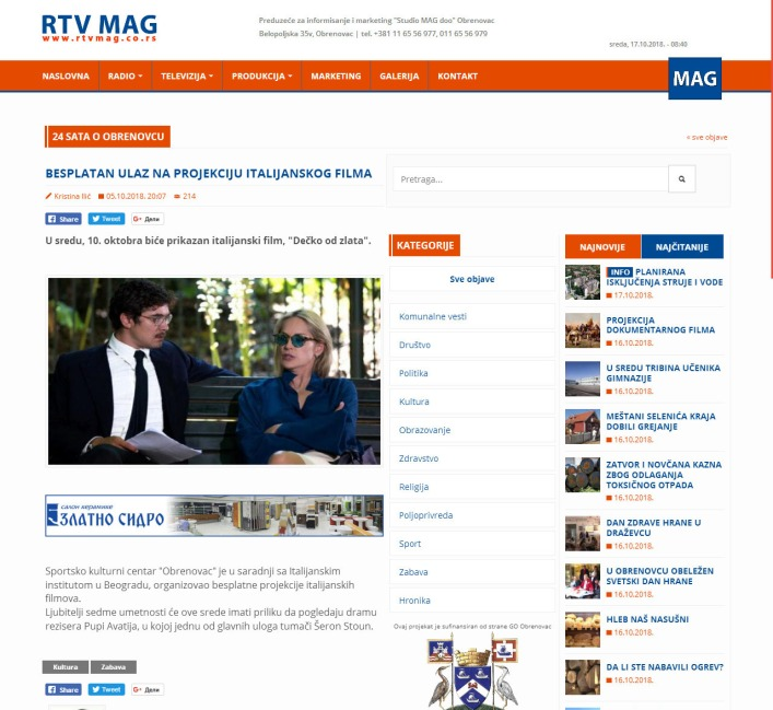 0510 - rtvmag.co.rs - BESPLATAN ULAZ NA PROJEKCIJU ITALIJANSKOG FILMA
