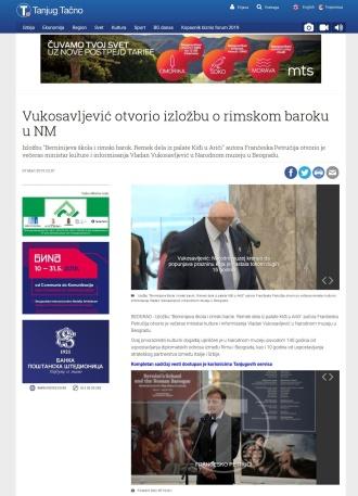 0703 - tanjug.rs - Vukosavljevic otvorio izlozbu o rimskom baroku u NM