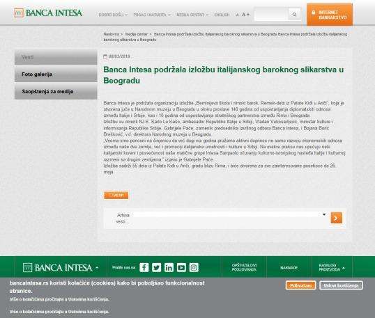 0803 - bancaintesa.rs - Banca Intesa podrzala izlozbu italijanskog baroknog slikarstva u Beogradu