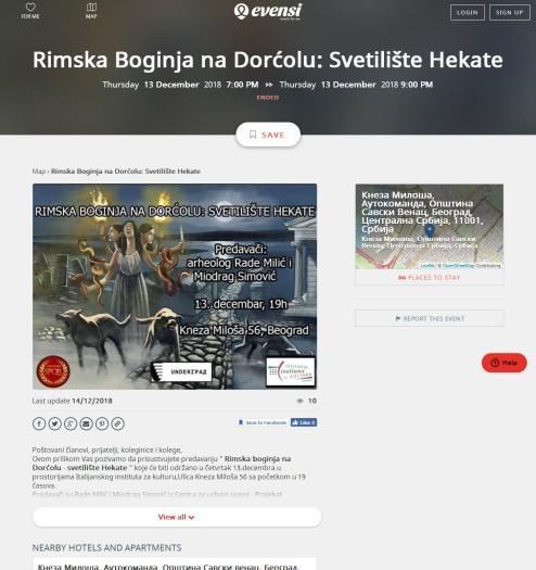 1312 - evensi.com - Rimska Boginja na Dorcolu- Svetiliste Hekate