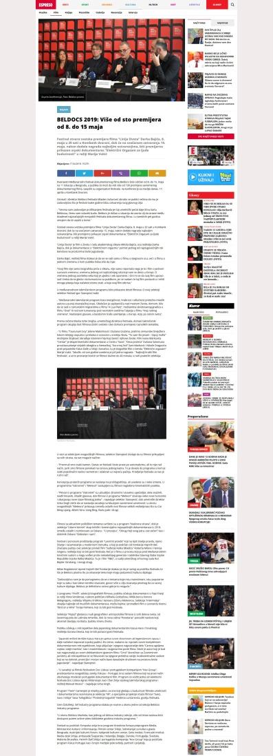 1704 - espreso.rs - BELDOCS 2019 - Vise od sto premijera od 8. do 15 maja