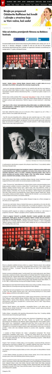 1704 - telegraf.rs - Vise od stotinu premijernih filmova na Beldocs festivalu