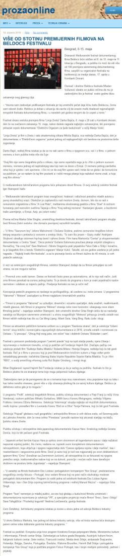 1804 - prozaonline.com - VISE OD STOTINU PREMIJERNIH FILMOVA NA BELDOCS FESTIVALU