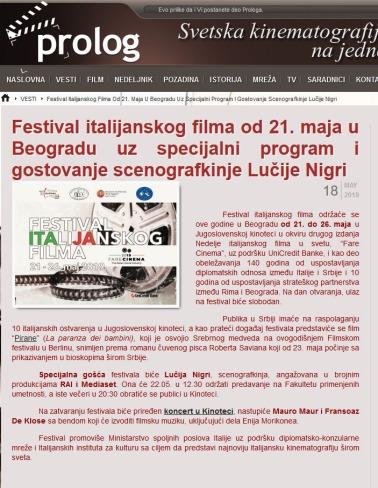 1805 - prolog.rs - Festival italijanskog filma od 21. maja u Beogradu uz specijalni program i gostovanje scenografkinje Lucije