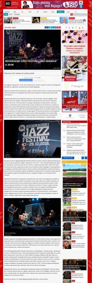 2612 - srbijadanas.com - BEOGRADSKI DZEZ FESTIVAL - BEZ GRANICA U 2018