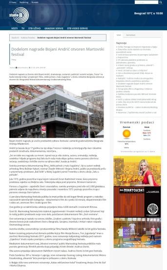 2703 - studiob.rs - Dodelom nagrade Bojani Andric otvoren Martovski festival