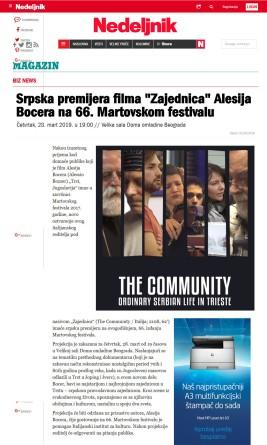 2803 - nedeljnik.rs - Srpska premijera filma Zajednica Alesija Bocera na 66. Martovskom festivalu