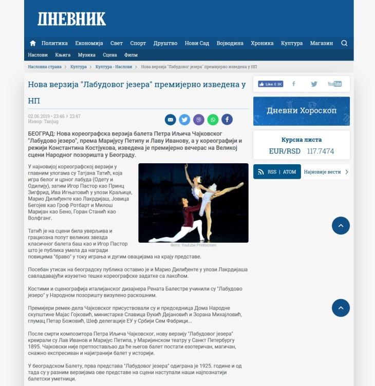0206 - dnevnik.rs - Nova verzija Labudovog jezera premijerno izvedena u NP