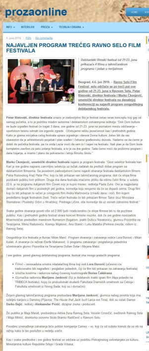 0506 - prozaonline.com - NAJAVLJEN PROGRAM TRECEG RAVNO SELO FILM FESTIVALA