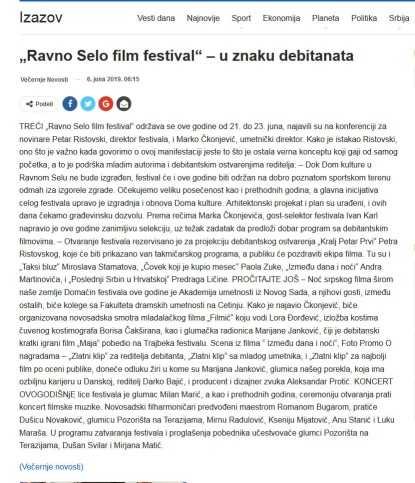 0606 - izazov.com - Ravno Selo film festival - u znaku debitanata