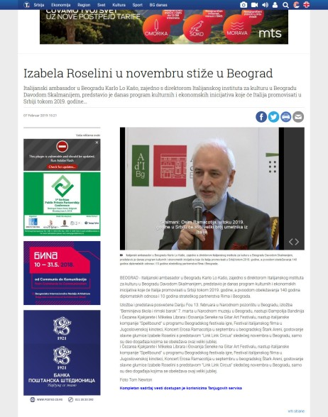 0702 - tanjug.rs - Izabela Roselini u novembru stize u Beograd
