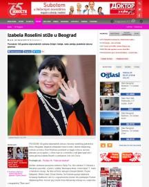 0802 - novosti.rs - Izabela Roselini stize u Beograd