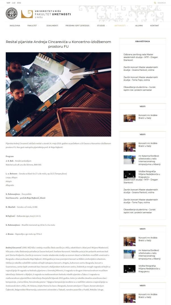 1005 - artf.ni.ac.rs - Resital pijaniste Andreja Cincarevica u Koncertno-izlozbenom prostoru FU