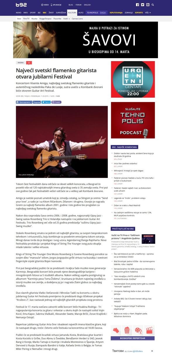 1103 - b92.net - Najveci svetskI flamenko gitarista otvara jubilarni Festival