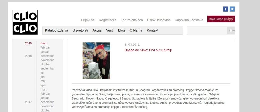 1103 - clio.rs - Dijego de Silva- Prvi put u Srbiji