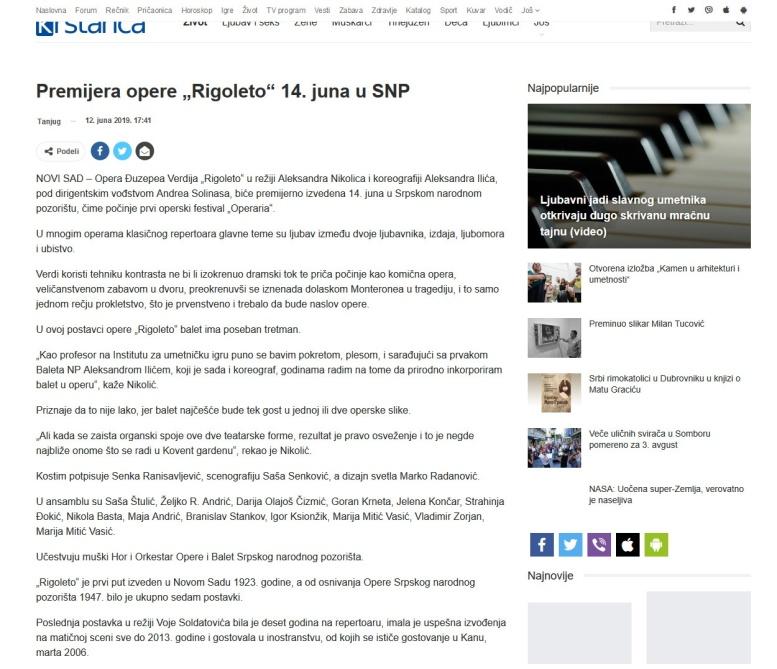 1206 - krstarica.com - Premijera opere Rigoleto 14. juna u SNP