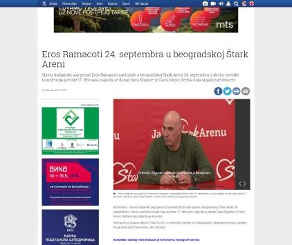 1302 - tanjug.rs - Eros Ramacoti 24. septembra u beogradskoj Stark Areni