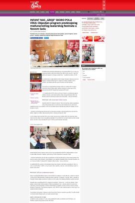 1306 - novosti.rs - INFANT NAS GREJE SKORO POLA VEKA - Objavljen program predstojeceg medjunarodnog teatarskog festivala u Novom Sadu