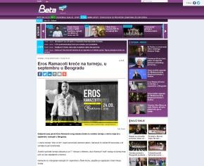 1502 - beta.rs - Eros Ramacoti krece na turneju, u septembru u Beogradu