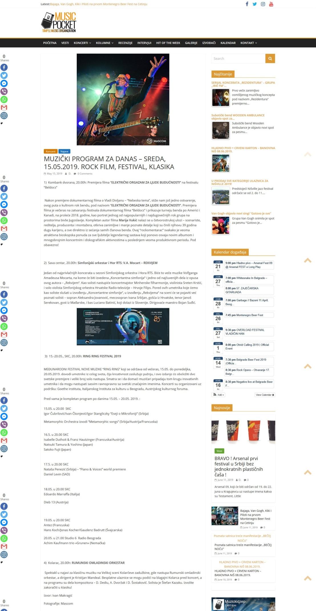 1505 - musicpocket.org - MUZICKI PROGRAM ZA DANAS - SREDA 15. 5