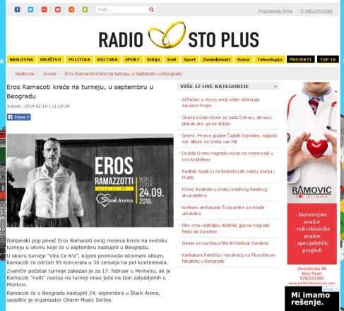 1602 - radiostoplus.com - Eros Ramacoti krece na turneju u septembru u Beogradu