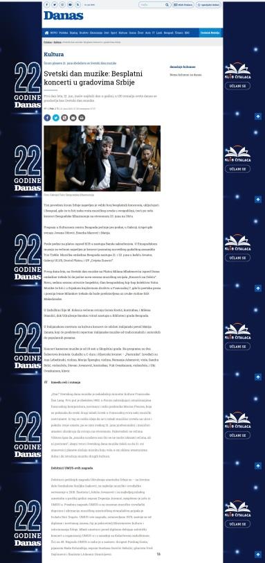 2106 - danas.rs - Svetski dan muzike - Besplatni koncerti u gradovima Srbije