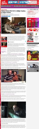 2106 - novosti.rs - PAOLO ZUKA PRVI PUT U SRBIJI