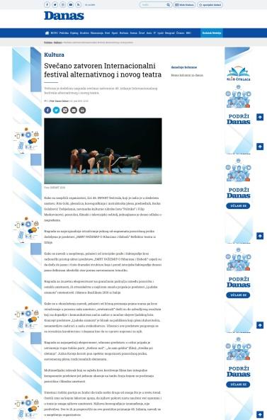 0207 - danas.rs - Svecano zatvoren Internacionalni festival alternativnog i novog teatra