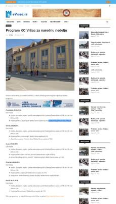 0208 - evrsac.rs - Program KC Vrsac za narednu nedelju