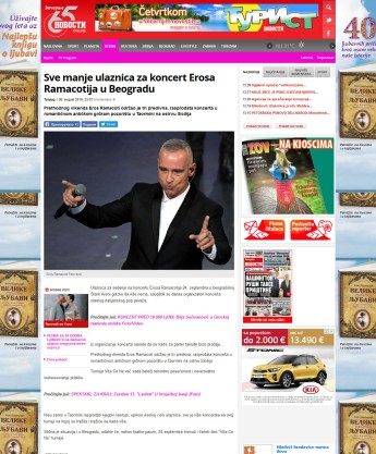 0808 - novosti.rs - Sve manje ulaznica za koncert Erosa Ramacotija u Beogradu