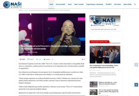 3008 - nasiusvetu.com - Eros Ramacoti pred koncert u Beogradu poslao poruku koja ce oduseviti obozavatelje