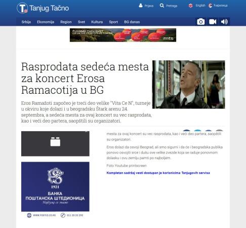 3008 - tanjug.rs - Rasprodata sedeca mesta za koncert Erosa Ramacotija u BG