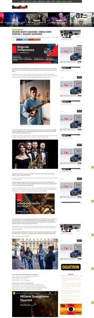 0110 - headliner.rs - Milanski kvartet saksofona i Gordan Tudor otvaraju 6. Belgrade SAXperience