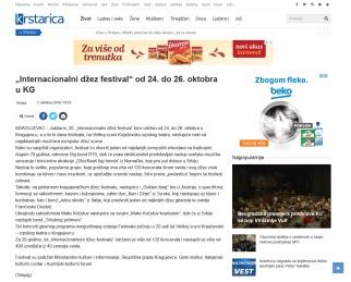 0310 - krstarica.com - Internacionalni džez festival od 24. do 26. oktobra u KG