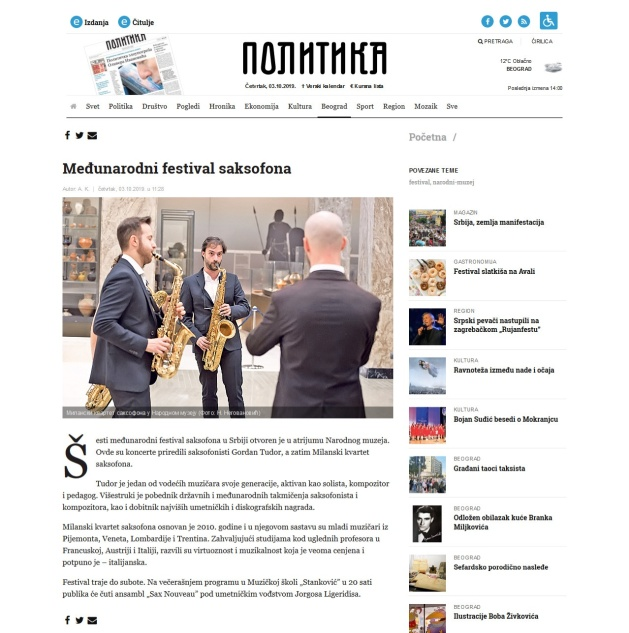 0310 - politika.rs - Medjunarodni festival saksofona